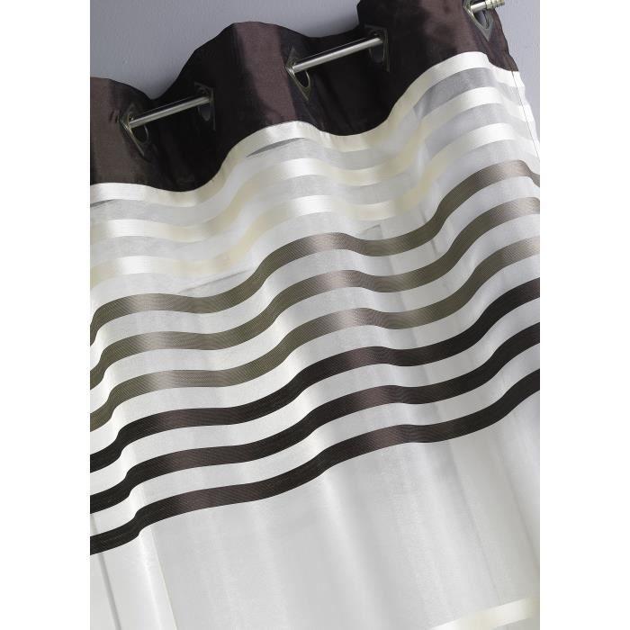 Voilage - Ivoire - 140x260cm - 100% Polyester - 8 Œillets bronze carrés en biais - à l'unité - Prêt à poserVOILE - VOILAGE