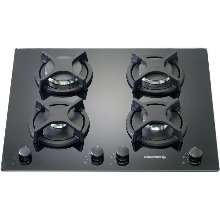 ROSIERES RTV640FPN-Table de cuisson gaz-4 foyers-8750 W-L 56 x P 48 cm-Revêtement verre-Noir
