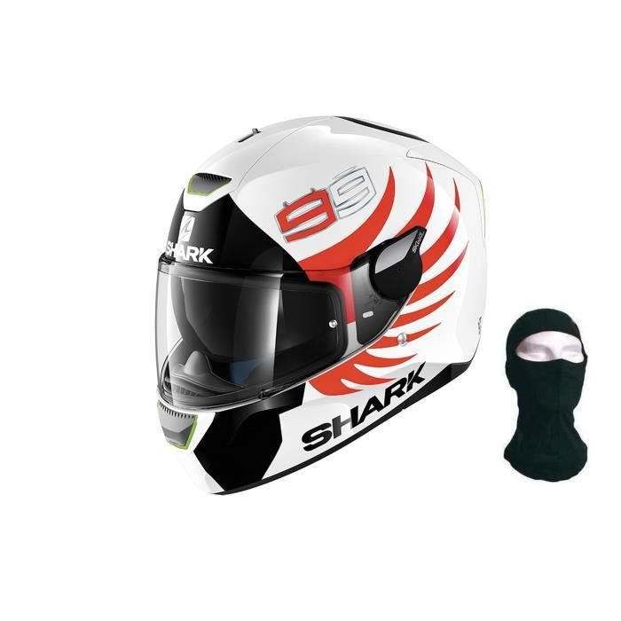 SHARK Casque intégral Skwal Lorenzo blanc rouge + Cagoule