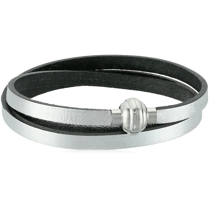 Craze Leather And Stainless Steel Magnetic Clasp Wrap Bracelet, 22.5 Q5VC3