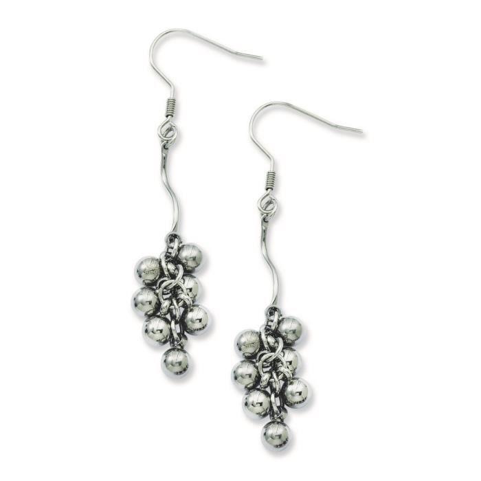 Acier inoxydable poli-Boucles doreilles en perles