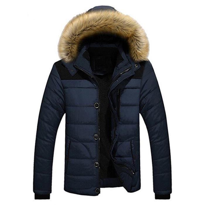 homme gar on surv tement faux col fourrure capuche parka hiver manteau pais manteau doudoune. Black Bedroom Furniture Sets. Home Design Ideas