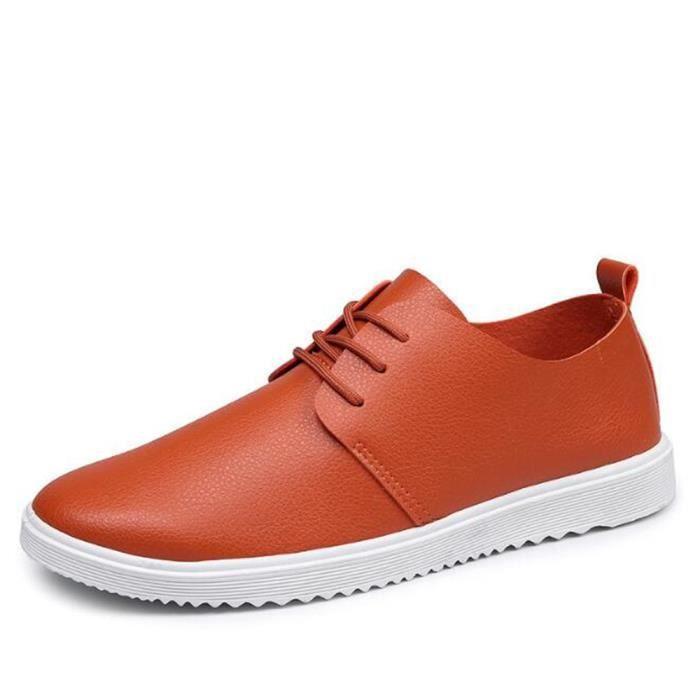 Chaussures Hommes Cuir Printemps Ete Haute Qualité Plat Chaussures ZX-XZ080Rouge43