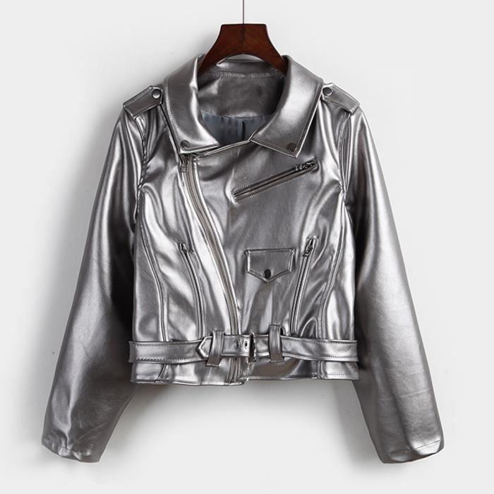 Motard Survêtement Féminine Argent Glissière Manteau Court De En Fermeture Cuir Belle Mode Chaude Mode À Veste Parka UtaOzqx
