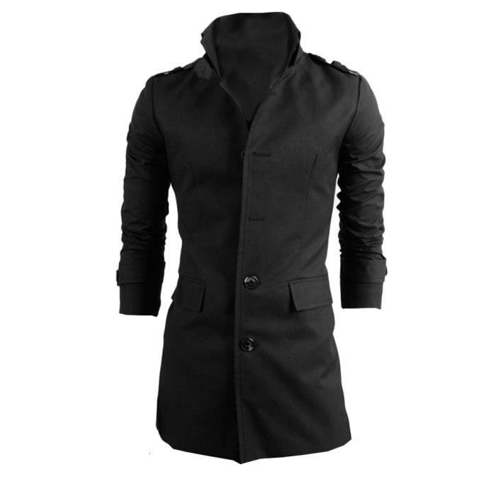Button Smart Veste Trench Pardessus Long Noir Outwear D'hiver Chaude aUfqnZY