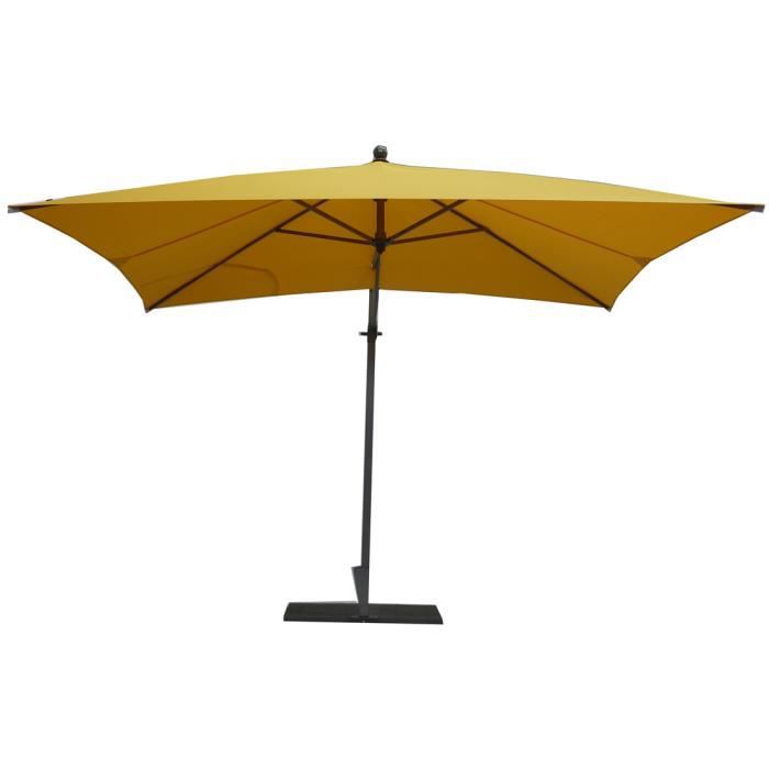 parasol rectangulaire déporté coloris jaune - dim : h 250 x d 300