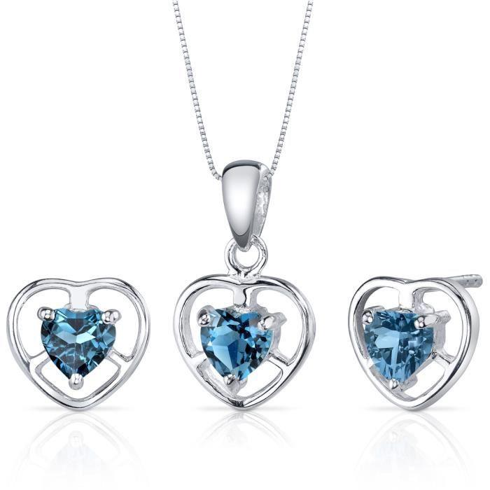Parure-Femme- -Argent- Topaze bleue