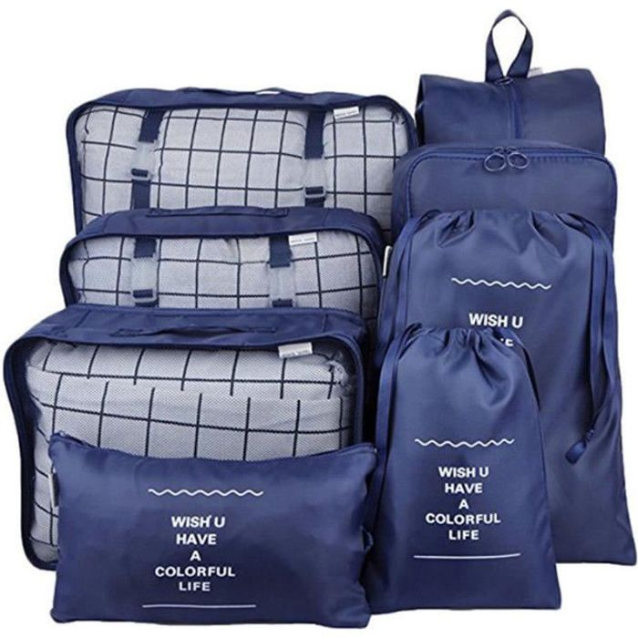 Lot de 8 Sac de Rangement Organisateur de Voyage Valise Bagages Ensemble Emballent des Cubes pour Vêtement BLEU