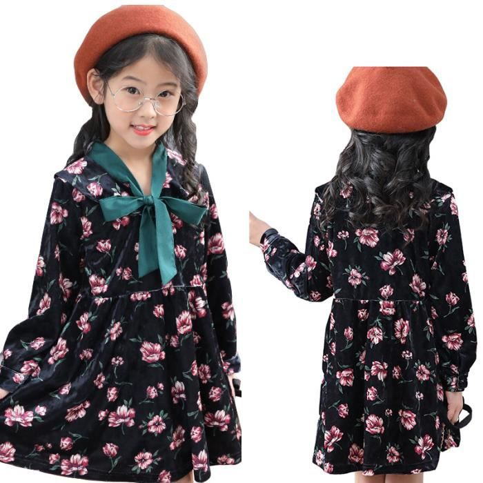 9cd5c092baa Robe Fille Casual Impression Manches Longues Robe Fille 6-12 ans ...
