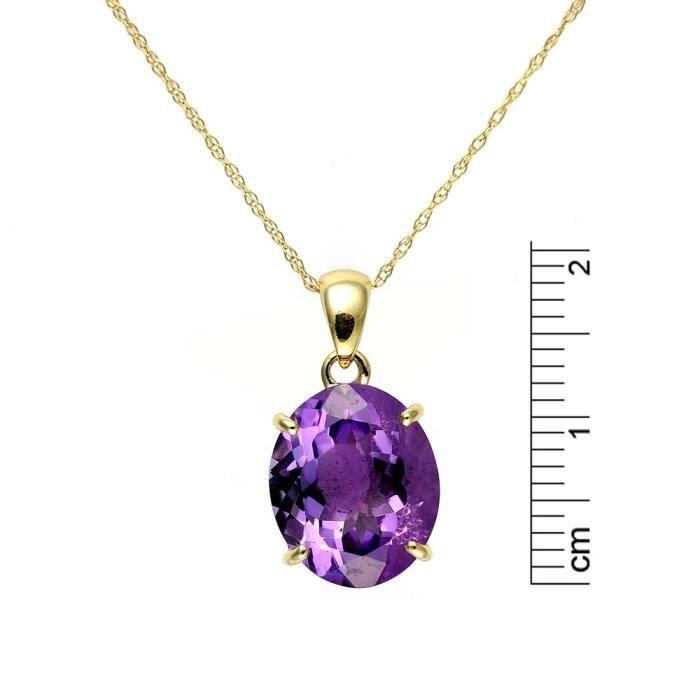 135p0036-01 - Collier Femme - Or Jaune 375-1000 (9 Cts) 1.335 Gr - Améthyste Z8P0R