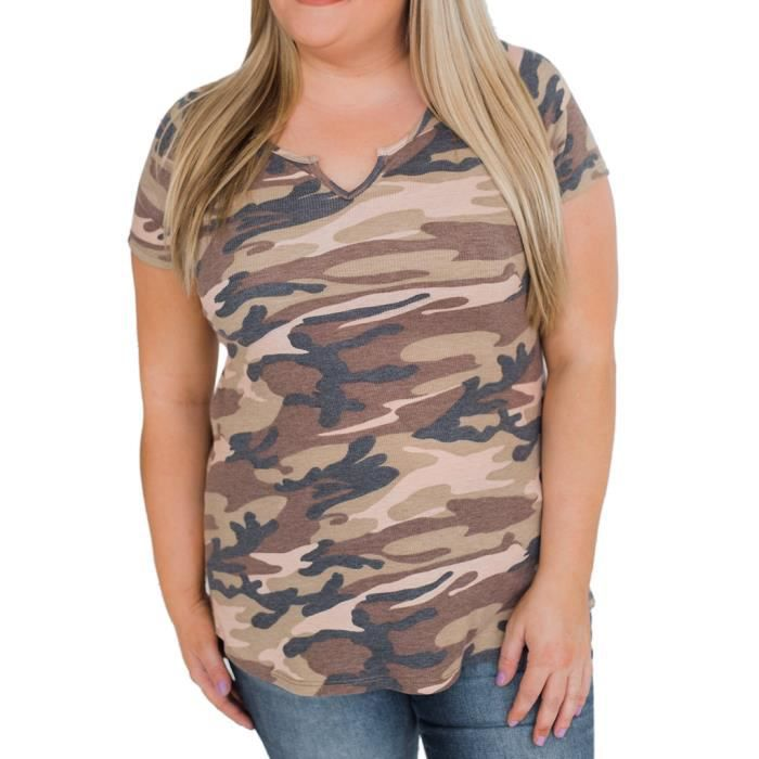 Tops Courtes V Col shirt Casual Chemisier Manches T Mode Féminine Camouflage nw4qSR0fCx