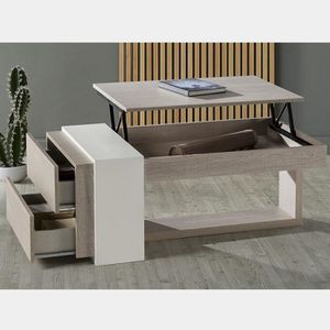 TABLE BASSE Table basse modulable moderne couleur bois ANTIBES