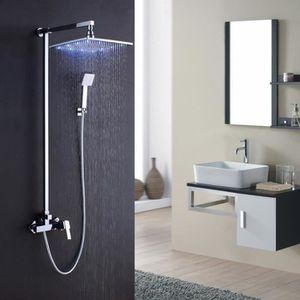 Colonne de douche moderne finition chromée à LED 200mm - Achat ...