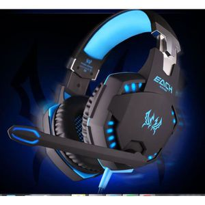 CASQUE  - MICROPHONE EACH G2100 professionnel 3.5mm LED PC Gaming Noise