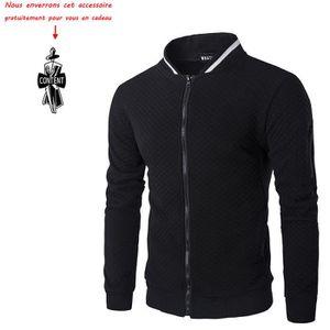 VESTE Sweat-Shirt Homme Manches Longues Pull Uni Zippé B f63a9e43834d