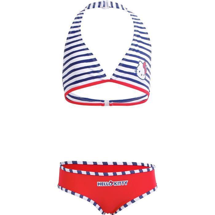 HELLO KITTY Maillot de bain 2 pièces - Fille - Rouge, blanc et bleu