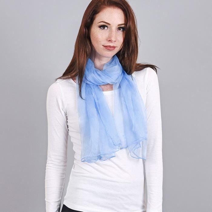 6d4c5f304dc5 Foulard mousseline soie Bleu ciel uni Bleu - Achat   Vente echarpe ...