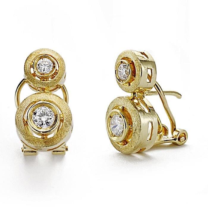 Boucle doreille Or 18 carats et votre 16 mm. zirconites Omega 7927 7927 OuV7bc