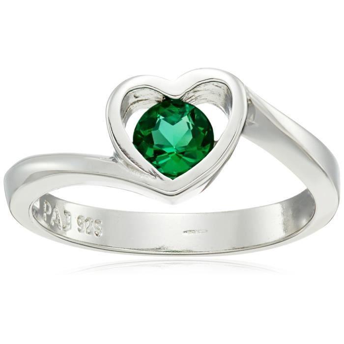 Jewel Panda Rhodié ronde en argent sterling Créé Emerald 5Mm Open Heart Ring, Taille 7