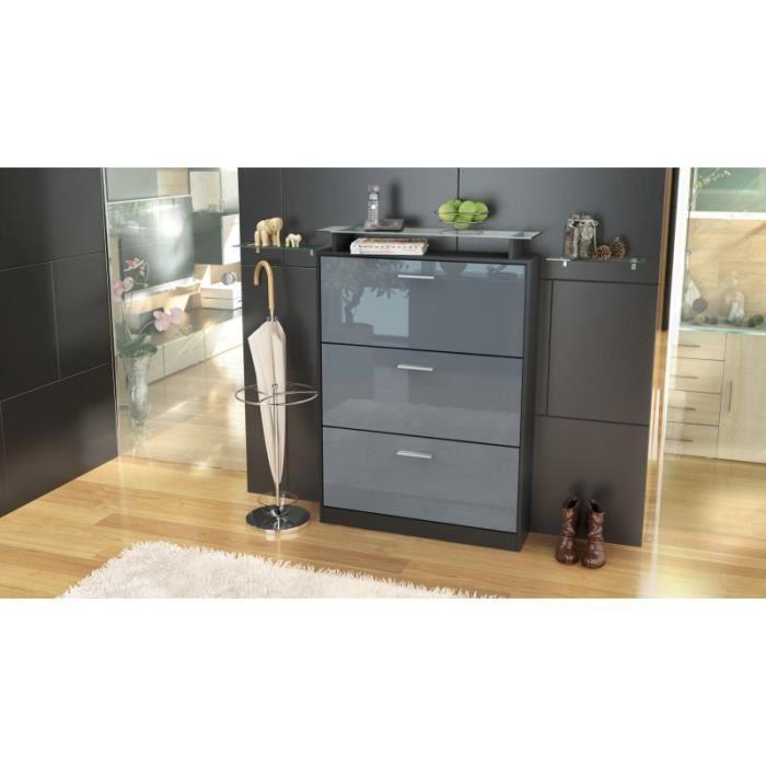 meuble chaussures noir et gris laqu avec 3 abattants. Black Bedroom Furniture Sets. Home Design Ideas