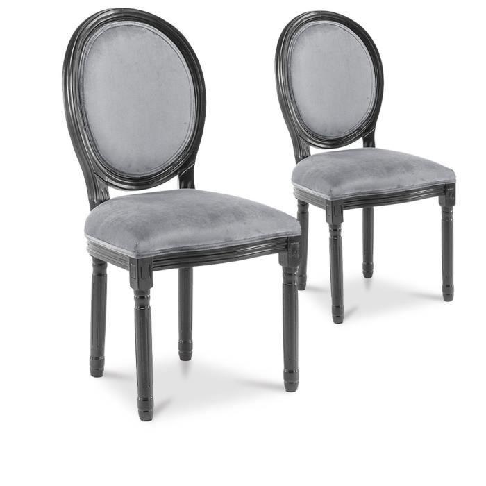 34881aea92a2b Lot de 2 chaises médaillon Louis XVI velours Gris - Achat / Vente ...