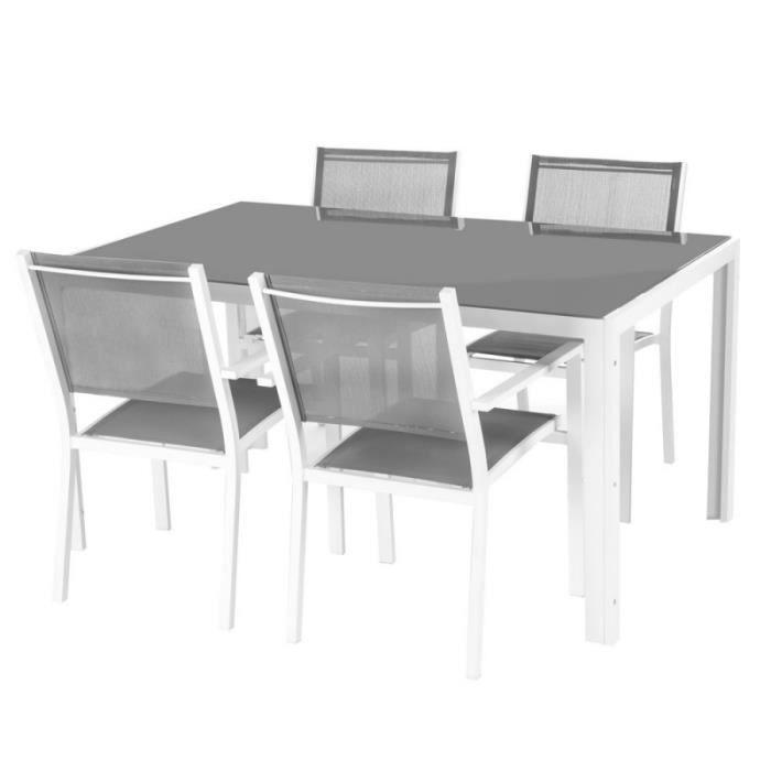 Ensemble table de jardin + 4 chaises en aluminium et verre gris et ...
