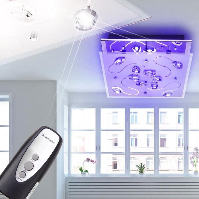 Changeur Couleur Chrome Led Verre Lampe Plafonnier Télécommande qzGVUMpS