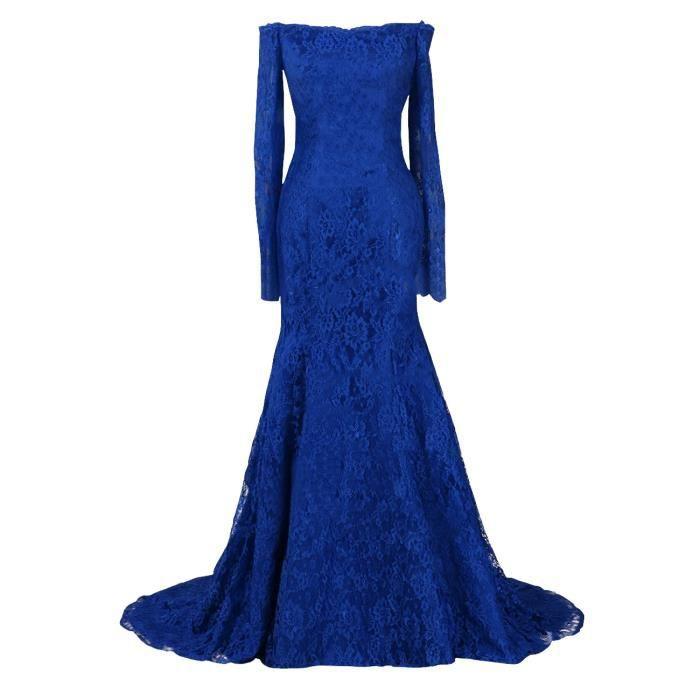 f4cf9a005d2 Bleu royal Robe de Soirée Cocktail Mariée Longue Traîné Sirène Col Bateau  Sexy Épaule Nu Manche Longue Tout en Dentelle Grande