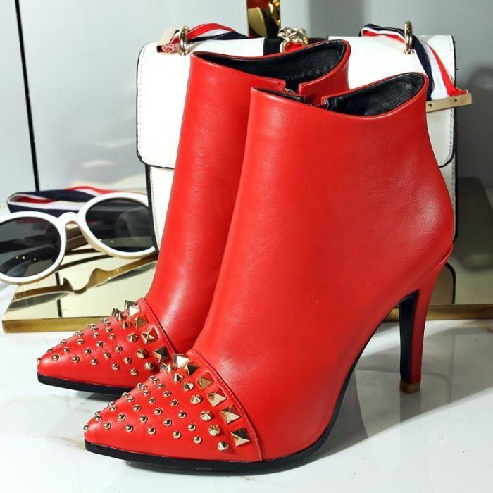 Botte Femme à talon Casual en cuir couleur solide talon aiguille Rivet rouge taille37