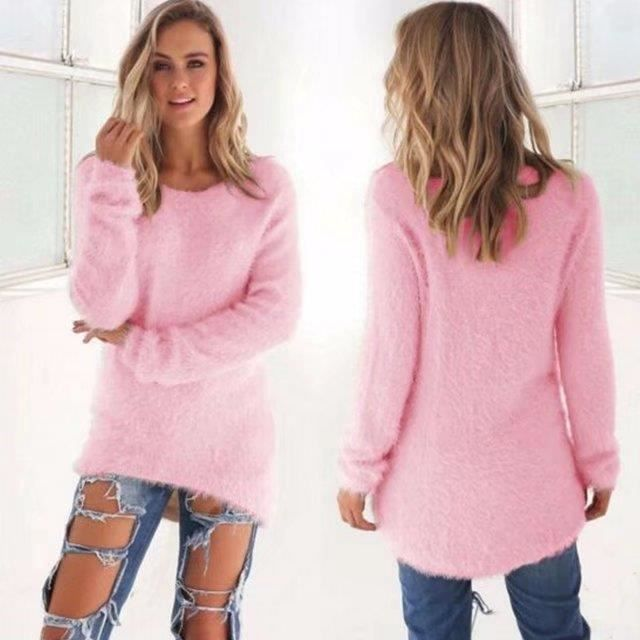 Femmes Chandail Pull Nouvelle Mode Automne Hiver Femmes Col Rond Pull Femme  Hedging Lâche Pull Casual Solide Couleur Chandails 2545fba1899