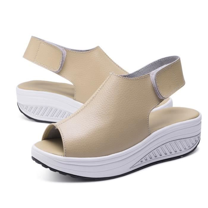 Chaussures de secousse saine des femmes Chaussures sexy en cuir d'été Sandales compensées peep toes Plateforme Swing Taille 36-43