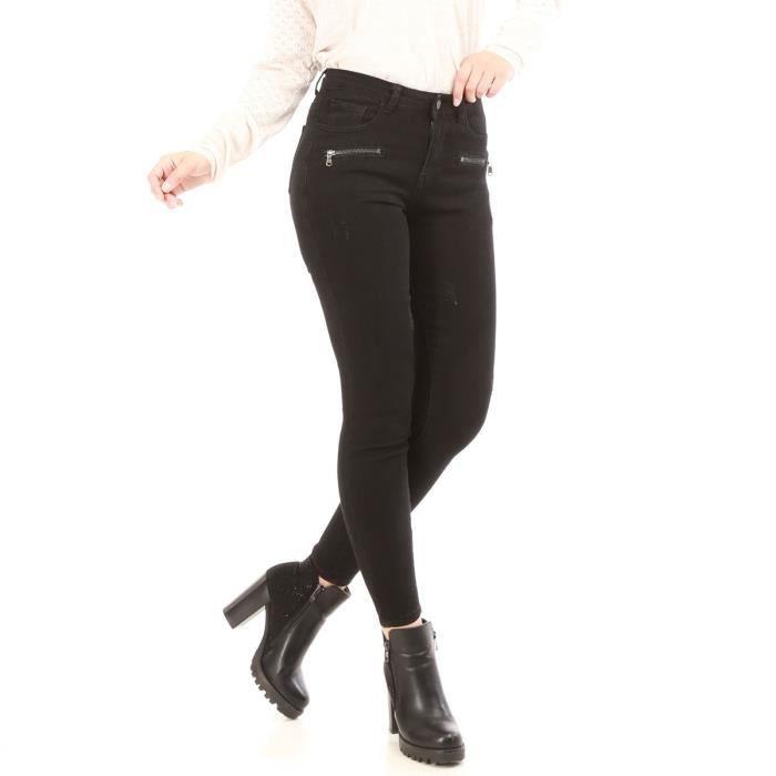 73bb5c11ca Jeans noir slim effet usé à zip-S Noir Noir - Achat / Vente jeans ...