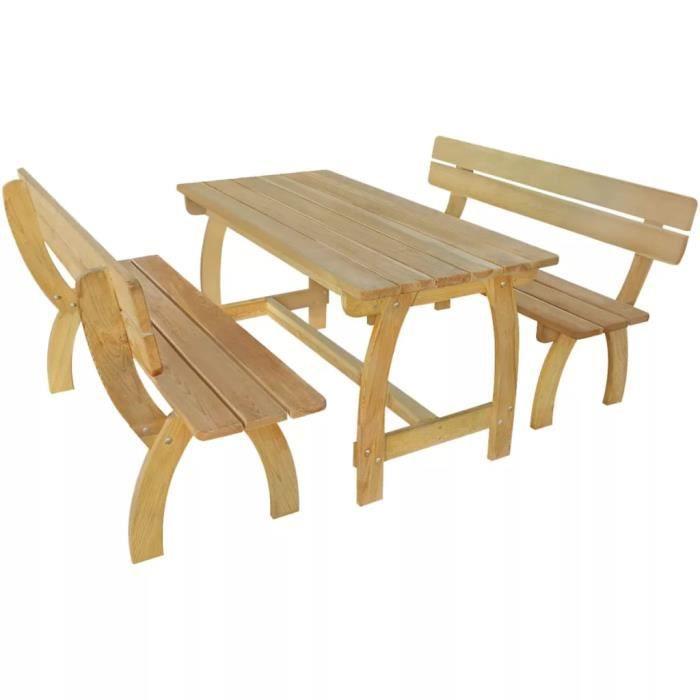 3 pcs Jeu de banc de jardin Bois de pin imprégné Jeu de meuble de ...