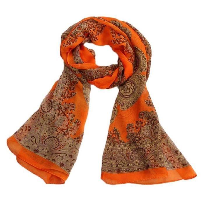 b278e0b64b86 Femmes De Mode De Dame Douce a Long Foulard En Mousseline De Soie Wrap  etole De Chale Foulards, Orange