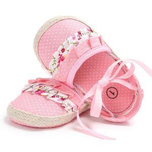 Frankmall®Filles berceau chaussures Noeud papillon princesse fleur Soft prémarcheur semelle douce chaussures ROSE#WQQ0926264 I8pCdOi