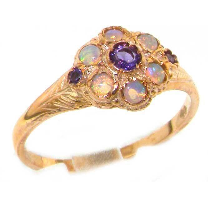 Bague pour Femme en Or rose 9 carats 375-1000 sertie d Amethyste Opale- Tailles 50 à 64