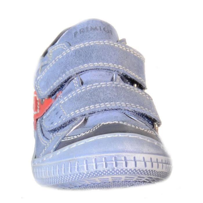 Primigi - Primigi Chaussures pour Garçon Bleu Claire Cuir Toile Velcro 64640