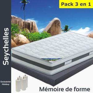 ENSEMBLE LITERIE Seychelles - Pack Matelas + AltoDeco 140x190 + Pie