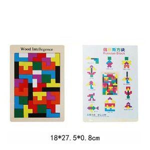 PUZZLE Bois coloré doux Tangram Puzzle Casse-tête Tetris