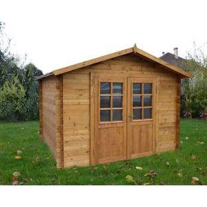 Abri de jardin 9m² en bois massif autoclave teinté marron - Achat ...