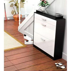 meuble chaussure noir laque achat vente pas cher. Black Bedroom Furniture Sets. Home Design Ideas