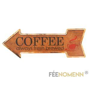 OBJET DÉCORATION MURALE Plaque Métal Déco Vintage - Coffee Always Fresh Br