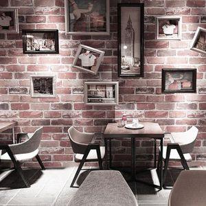 Papier Peint Vintage Style Brique Rouge 0.53*10M Décoration Murale