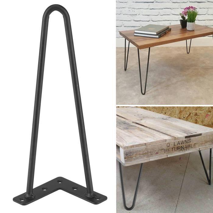 4 Pcs Pieds De Table Noir Fer Accessoires Pour Meubles Bricolage