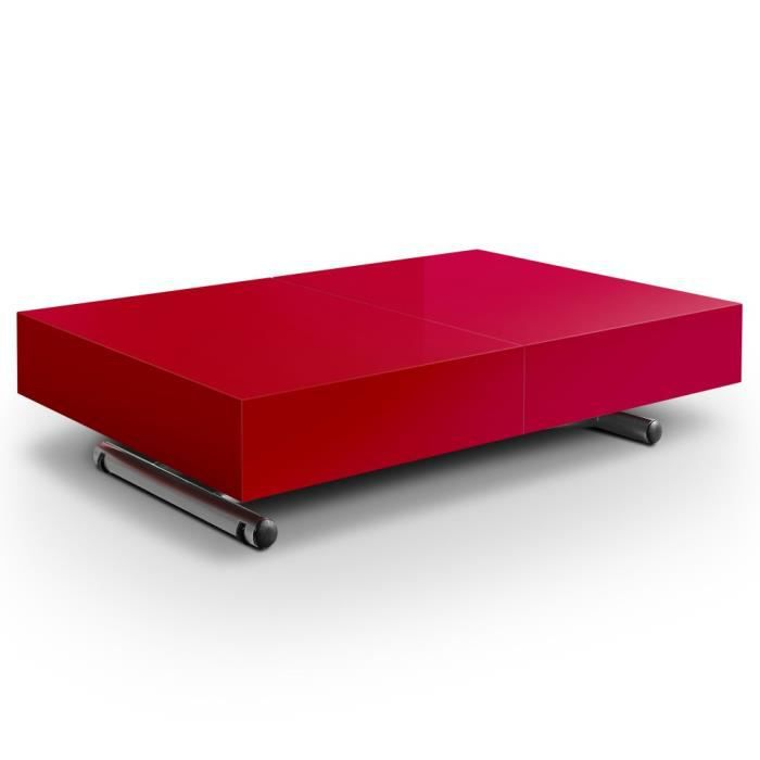 table basse relevable léoni rouge - achat / vente table basse