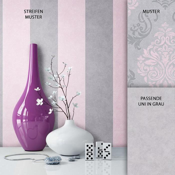 Papier Peint Toison Gris Rose Classique Traditionelle Maison De
