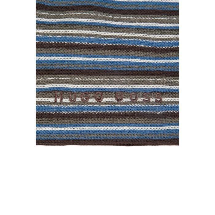 Écharpe laine vierge HUGO BOSS en noir bleu et marron fadon 50271421 ... 8c27928968e