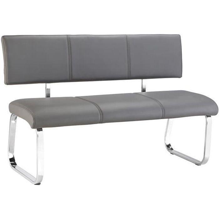 Banc design VILAS siège avec 3 places, banquette au piètement chromé et dossier au revêtement synthétique gris