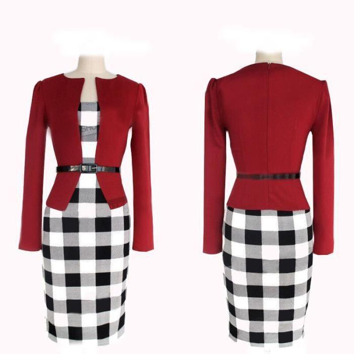 91f1316cc23 Femme tartan robe Gucci dans deux éléments manc... Rouge - Achat ...