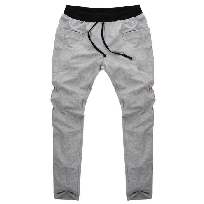 Sports Bleu Pantalon Lâche Coton Élastique En Homme Fonce Noir wIR0xw